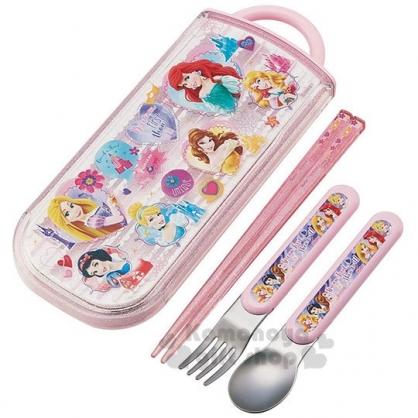 〔小禮堂〕迪士尼 公主 日製滑蓋三件式餐具組《粉白》環保餐具.兒童餐具