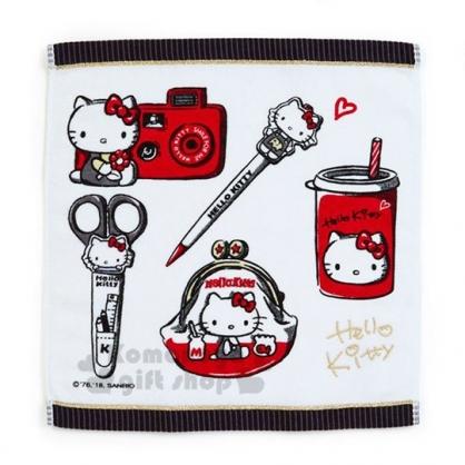 〔小禮堂〕Hello Kitty Action 棉質方形毛巾方巾《黑白》70''s復古手稿系列