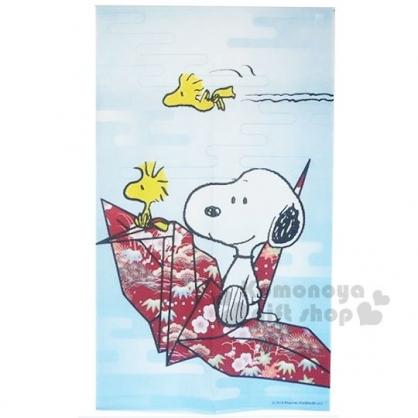 〔小禮堂〕史努比 日製棉麻長門簾《藍.紙鶴》85x150cm.窗簾