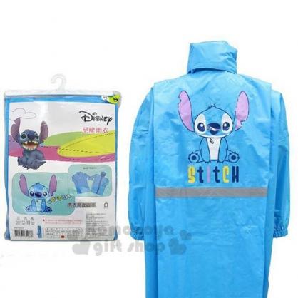 〔小禮堂〕迪士尼 史迪奇 成人前開式尼龍雨衣《XL.藍.坐姿》雨具