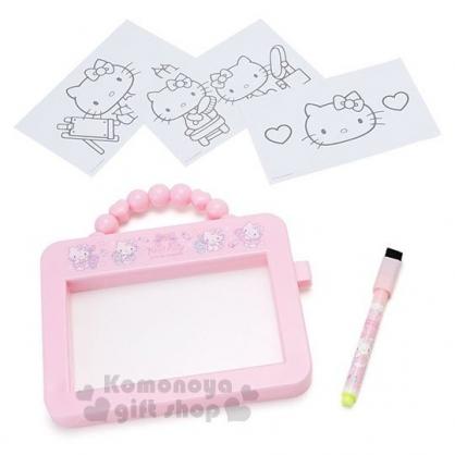 〔小禮堂〕Hello Kitty 可提式畫板玩具附筆《粉.化妝品》繪圖玩具.兒童玩具