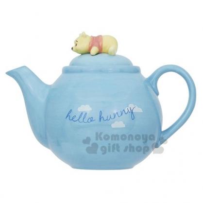 〔小禮堂〕迪士尼 小熊維尼 造型陶瓷茶壺《淡藍.趴姿》咖啡壺.精緻盒裝