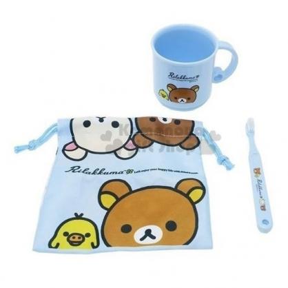 〔小禮堂〕懶懶熊 拉拉熊 牙刷杯組附束口袋《藍大臉》盥洗用品.漱口杯