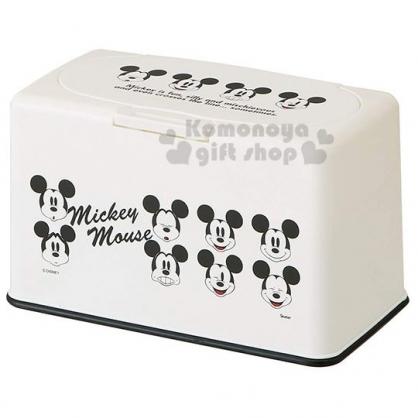 〔小禮堂〕迪士尼 米奇 方型塑膠口罩盒《黑白.大臉》置物盒.收納盒.面紙盒