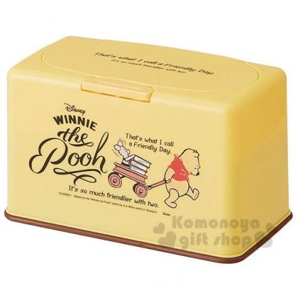 〔小禮堂〕迪士尼 小熊維尼 方型塑膠口罩盒《棕黃.拉車》置物盒.收納盒.面紙盒