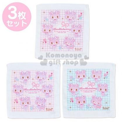 〔小禮堂〕甜夢貓 棉質方形毛巾組《3入.粉.格紋》29x32cm