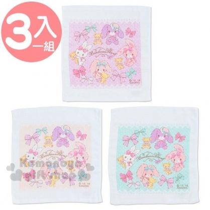 〔小禮堂〕蹦蹦兔 棉質方形毛巾組《3入.粉.蝴蝶結》29x32cm