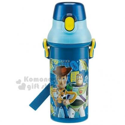 〔小禮堂〕迪士尼 玩具總動員 日製直飲式水壺《深藍.角色》480ml.水瓶.兒童水壺