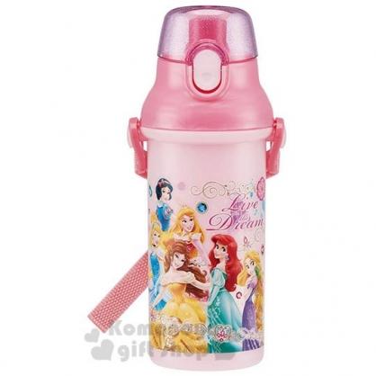 〔小禮堂〕迪士尼 公主 日製直飲式水壺《粉.角色》480ml.水瓶.兒童水壺