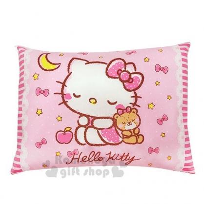 〔小禮堂〕台灣佳美 Hello Kitty 方型棉質寶寶枕頭《粉.睡覺》午安枕.靠枕