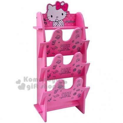 〔小禮堂〕Hello Kitty 木質三層鞋架《桃.摸嘴》木製櫃.收納架