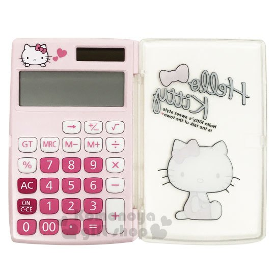 〔小禮堂〕Hello Kitty 迷你掀蓋式計算機《粉.側坐》12位元.事務用品