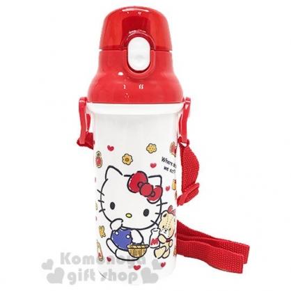 〔小禮堂〕Hello Kitty 日製直飲式水壺附背帶《紅白.提籃》480ml.水瓶.兒童水壺