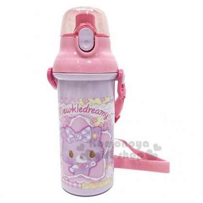 〔小禮堂〕甜夢貓 日製直飲式水壺附背帶《粉.蕾絲》480ml.水瓶.兒童水壺