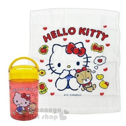 〔小禮堂〕Hello Kitty 日製方形毛巾附罐《黃紅.提籃子》32x28cm.手帕.置物罐