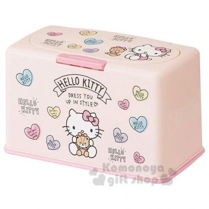 〔小禮堂〕Hello Kitty 方型塑膠口罩盒《粉.抱小熊》置物盒.收納盒.面紙盒