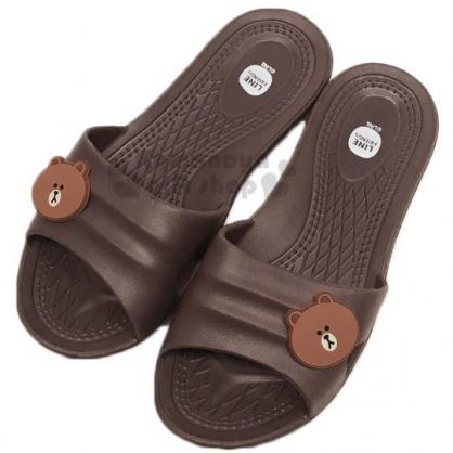 〔小禮堂〕Line friends 熊大 極輕防滑塑膠拖鞋《深棕.大臉》室內拖鞋