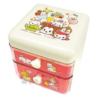 〔小禮堂〕迪士尼 TSUMTSUM 桌上型塑膠雙抽收納盒《粉.大臉》置物盒.抽屜盒