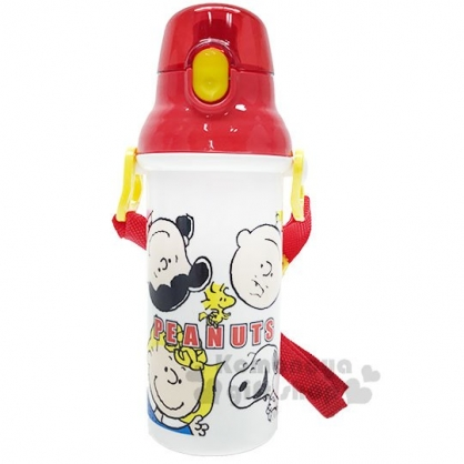 〔小禮堂〕史努比 日製直飲式水壺附背帶《紅白.大臉》480ml.水瓶.兒童水壺