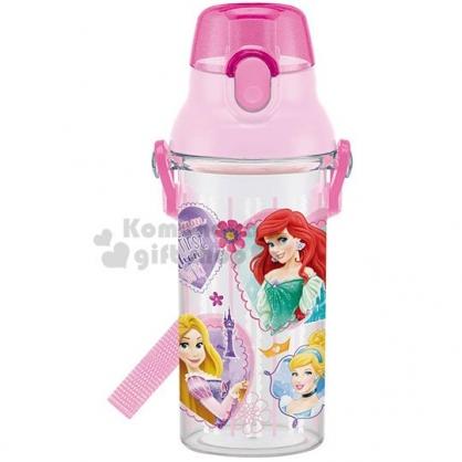 〔小禮堂〕迪士尼 公主 日製透明直飲式水壺附背帶《粉.大臉》480ml.水瓶.兒童水壺