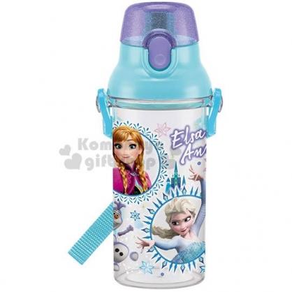 〔小禮堂〕迪士尼 冰雪奇緣 日製透明直飲式水壺附背帶《藍.大臉》480ml.水瓶.兒童水壺