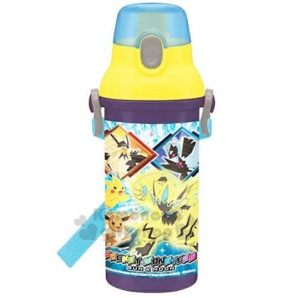 〔小禮堂〕神奇寶貝Pokemon 皮卡丘 日製直飲式水壺附背帶《黃藍.角色》480ml.水瓶.兒童水壺