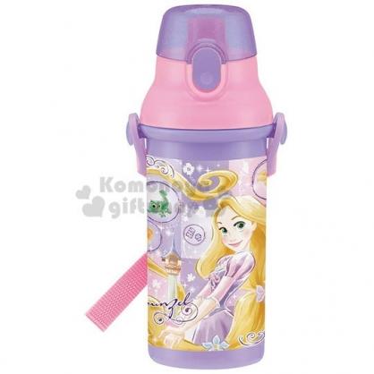 〔小禮堂〕迪士尼 長髮公主 日製直飲式水壺附背帶《紫.站姿》480ml.水瓶.兒童水壺