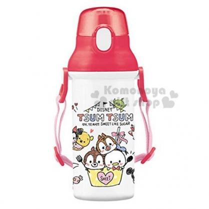 〔小禮堂〕迪士尼TSUMTSUM 日製直飲式水壺附背帶《紅白.大臉》480ml.水瓶.兒童水壺