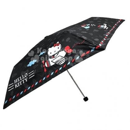 〔小禮堂〕Hello Kitty 折疊雨陽傘《黑.坐飛機》折傘.雨具.雨傘