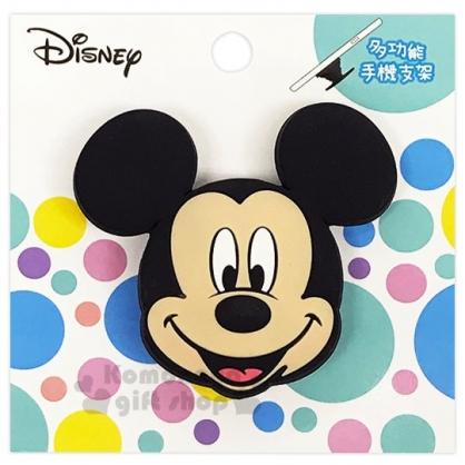 〔小禮堂〕迪士尼 米奇 造型矽膠伸縮手機立架《黑.大臉》支架.捲線器.手機配件