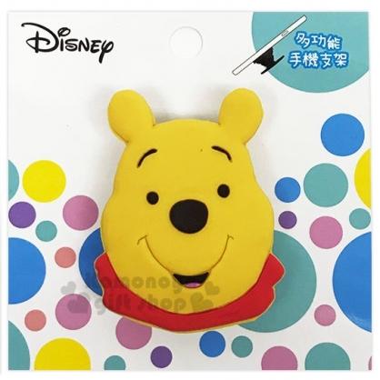 〔小禮堂〕迪士尼 小熊維尼 造型矽膠伸縮手機立架《黃.大臉》支架.捲線器.手機配件