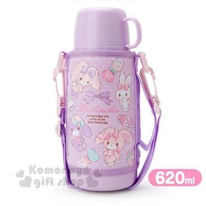 〔小禮堂〕蹦蹦兔 兩用不鏽鋼保溫瓶附水壺袋《粉紫.點點》670ml.水壺.水瓶