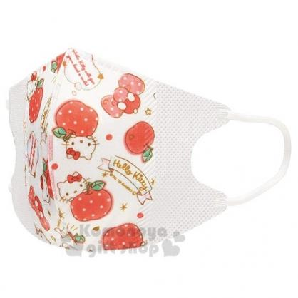 〔小禮堂〕Hello Kitty 兒童不織布立體口罩組《10入.白紅.蘋果》面罩.衛生用品