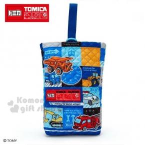 〔小禮堂〕TOMICA小汽車 菱格紋厚棉鞋袋《藍》收納袋.手提袋