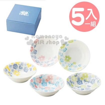 〔小禮堂〕迪士尼 米奇米妮 日製迷你陶瓷圓盤組《5入.藍白》沙拉盤.深盤.精緻盒裝