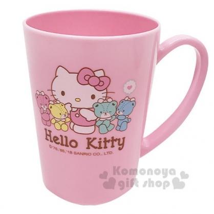 〔小禮堂〕Hello Kitty 單耳塑膠漱口杯《粉》水杯.茶杯.彩虹熊衛浴系列