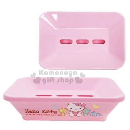 〔小禮堂〕Hello Kitty 方型塑膠肥皂盤《粉》皂盒.菜瓜布架.彩虹熊衛浴系列