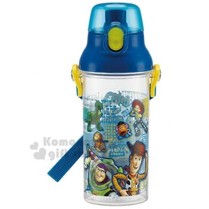 〔小禮堂〕迪士尼 玩具總動員 日製直飲式水壺附背帶《藍.透明》480ml.兒童水壺.隨身瓶