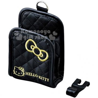 〔小禮堂〕Hello Kitty 車用皮質手機置物袋《黑金》手機架.收納袋.車用配件