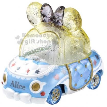 〔小禮堂〕迪士尼 愛麗絲 TOMICA小汽車《藍黃.蝴蝶結》飾品盒.模型.公仔.玩具