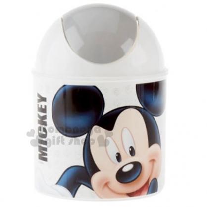 〔小禮堂〕迪士尼 米奇 桌上型圓形平衡蓋垃圾筒《白灰.大臉》1.5L.紙屑筒.收納筒