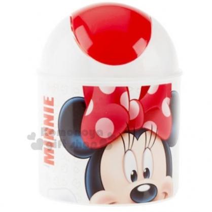 〔小禮堂〕迪士尼 米妮 桌上型圓形平衡蓋垃圾筒《白紅.大臉》1.5L.紙屑筒.收納筒