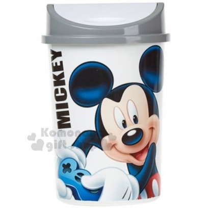 〔小禮堂〕迪士尼 米奇 圓形平衡蓋垃圾筒《白灰.大臉》4.5L.紙屑筒.收納筒