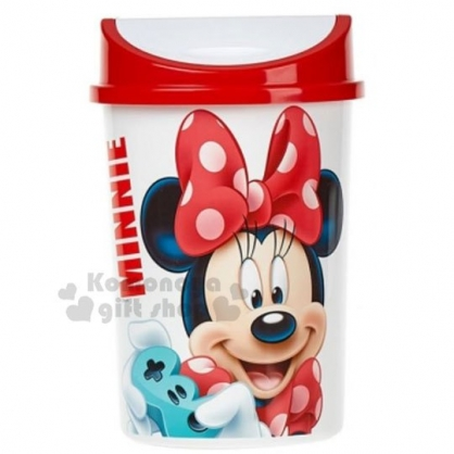 〔小禮堂〕迪士尼 米妮 圓形平衡蓋垃圾筒《白紅.大臉》4.5L.紙屑筒.收納筒