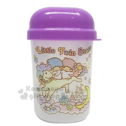 〔小禮堂〕雙子星 塑膠毛巾收納罐《紫.坐月亮》置物罐.銅板小物
