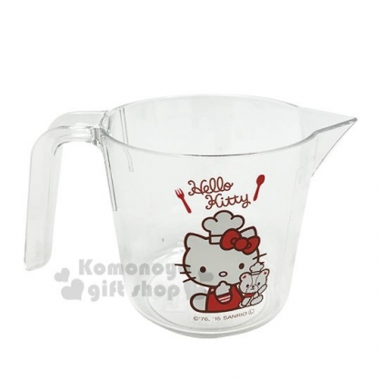 〔小禮堂〕Hello Kitty 單耳透明塑膠量杯《紅.廚師帽》300ml.烘焙用品.銅板小物
