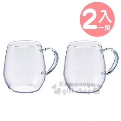 〔小禮堂〕日本HARIO 日製胖胖玻璃馬克杯組《2入.棕盒》360ml.對杯.茶杯.咖啡杯