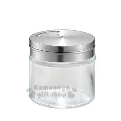 〔小禮堂〕迷你不鏽鋼蓋玻璃調味罐《銀》100ml.鹽罐.胡椒罐