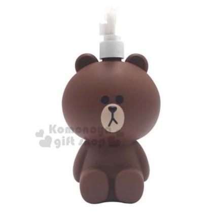 〔小禮堂〕LINE friends 熊大 造型塑膠按壓式空瓶《深棕》500ml.沐浴罐.乳液罐