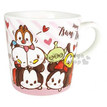 〔小禮堂〕迪士尼 TsumTsum 陶瓷馬克杯《粉.愛心》咖啡杯.茶杯